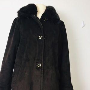 "DANA BUCHMAN Fur Trench Coat M"""